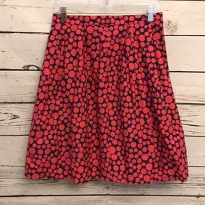 Garnet Hill 6 skirt navy pink polka dot